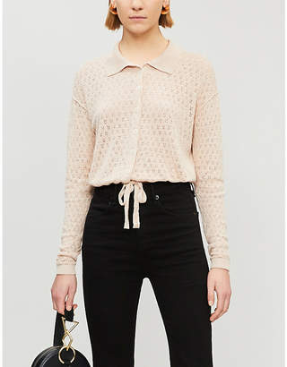 Free People Betty tied-front pointelle-knit cardigan