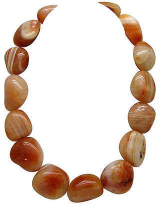 One Kings Lane Vintage Chunky Polished Agate Bead Necklace - Thanks for the Memories