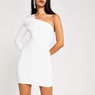 River Island White one sleeve bow bodycon mini dress
