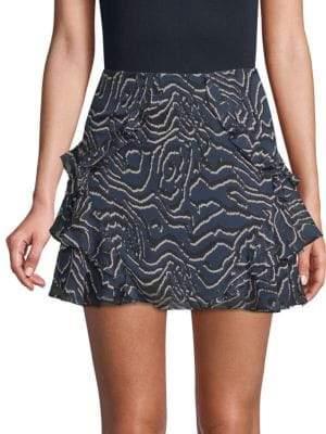 Derek Lam Ruffled Silk Mini Skirt