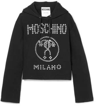 Moschino Studded Stretch-cotton Jersey Hooded Top