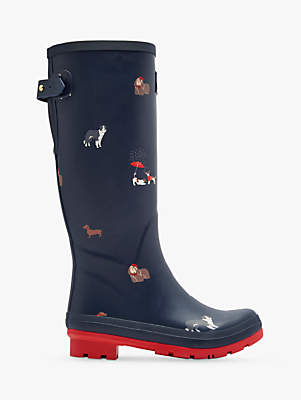 Joules Dogs Printed Waterproof Rubber Wellington Boots, Navy
