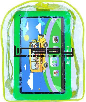 LINSAY New 10.1 Kids Funny Tab Quad Core 1024x600 HD 16GB Android 6.0 with Green Kids Defender Case and Kids Bag Pack