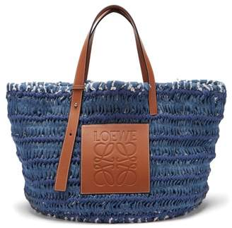 Loewe Leather Trimmed Woven Denim Tote Bag - Womens - Blue