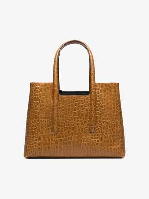 Dries Van Noten brown snakeskin effect leather tote
