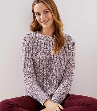 LOFT Marled Ribbed Shirttail Sweater
