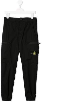 Stone Island Junior logo patch cargo trousers