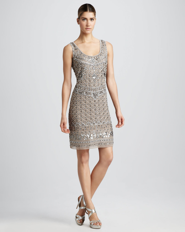 Aidan Mattox Geometric-Bead Cocktail Dress