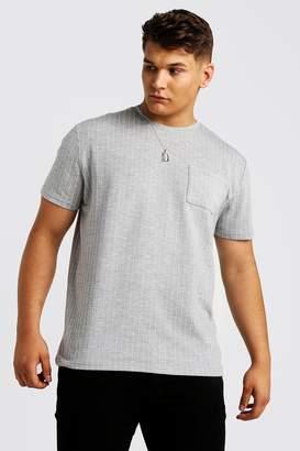 BoohoomanBoohooMAN Mens Grey Big & Tall T-Shirt With Pinstripe, Grey
