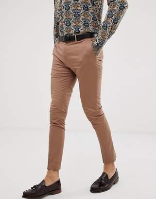 Devils Advocate super skinny plain cotton sateen stretch suit pants