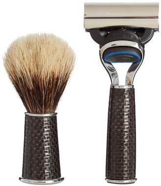 LORENZI MILANO Travelling carbon-fibre shaving set