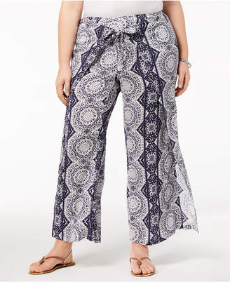 Style&Co. Style & Co Plus Size Printed High-Rise Wide-Leg Pants, Created for Macy's