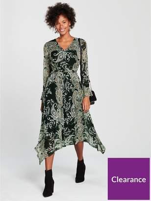 Wallis Paisley Hanky Hem Midi Dress - Printed