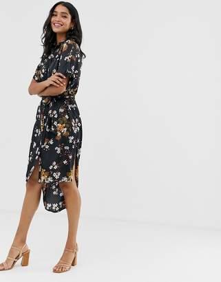 Liquorish midi shirt dress in floral print
