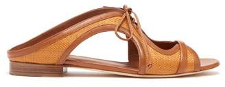 Malone Souliers Sabrina Tie Front Raffia And Leather Slides - Womens - Tan