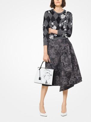 Michael Kors Floral Brocade Asymmetrical Pannier Skirt