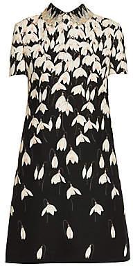 Valentino Women's Embellished Collar Floral Short Sleeve Shift Dress