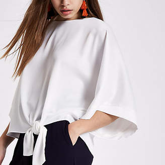 River Island Cream kimono sleeve tie side top