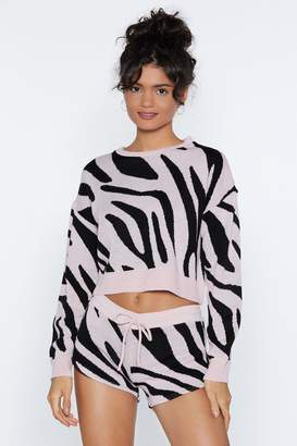 Nasty Gal Keep Out Zebra Sweater and Shorts Lounge Set