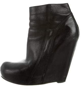 Rick Owens Leather Wedge Booties