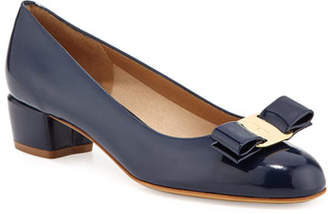 Salvatore Ferragamo Vara 1 Patent Bow Pumps, Oxford Blue