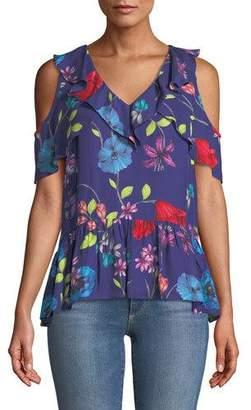 Parker Dedra Floral Cold-Shoulder Top