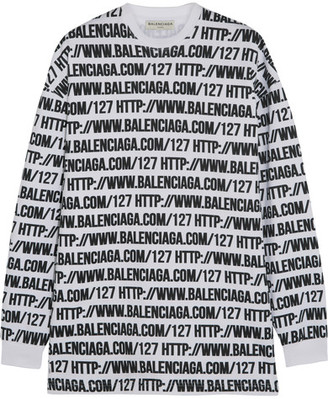 Balenciaga - Oversized Printed Cotton-jersey Sweatshirt - White $475 thestylecure.com
