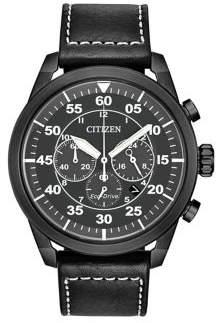 Citizen Avion Eco-Drive Leather Strap Watch