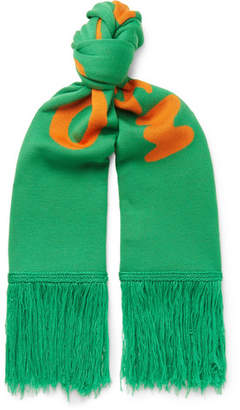 Off-White Off White Fringed Logo-Intarsia Wool Scarf - Men - Green