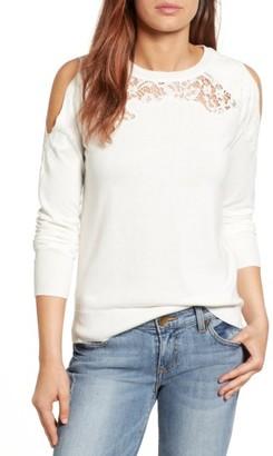 Women's Halogen Lace Detail Cold Shoulder Sweater $69 thestylecure.com