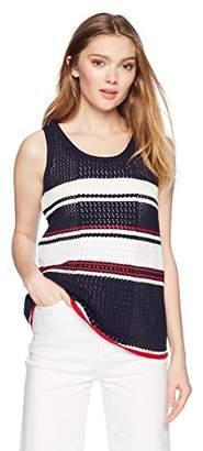 Cable Stitch Women's Pointelle Stripe Tank Top