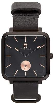 Washington Square Watches Men's Black Strap Black Dial Watch, 38mm x 44mm