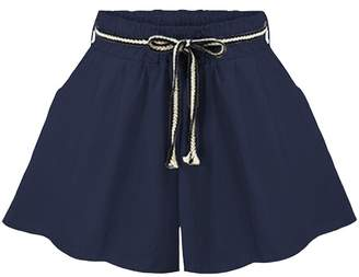Ainovile Women's Summer Hot Pants Loose Fit Wide Leg Culotte Shorts Blue