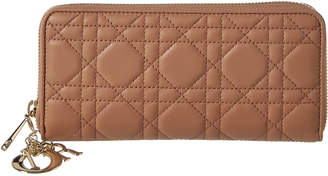 Christian Dior Lady Leather Zip Around Wallet
