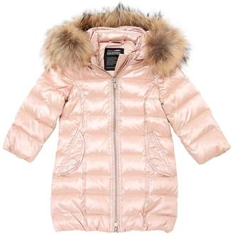 Quilted Nylon Down Coat With Fur Trim