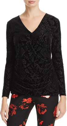 Foxcroft Jae Burnout Velvet Crossover Top