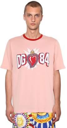 Dolce & Gabbana Logo Printed Heart Cotton Jersey T-Shirt