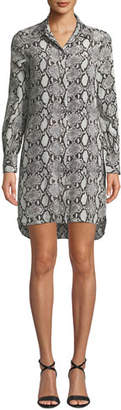 Club Monaco Tuline Silk Snake-Print Shirtdress