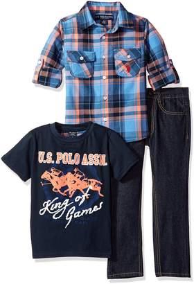 U.S. Polo Assn. Boys' Little Boys' 3 Piece Long Sleeve Fancy Sport Shirt, T-Shirt Or Creeper, and Denim Jean Set