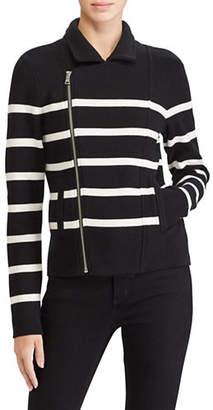 Lauren Ralph Lauren Petite Striped Moto Jacket