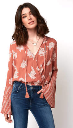 Mae Lost + Wander Ginger Bell Sleeve Wrap Front Top