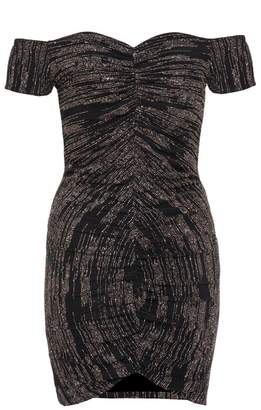 Quiz Black Glitter Ruched Dress
