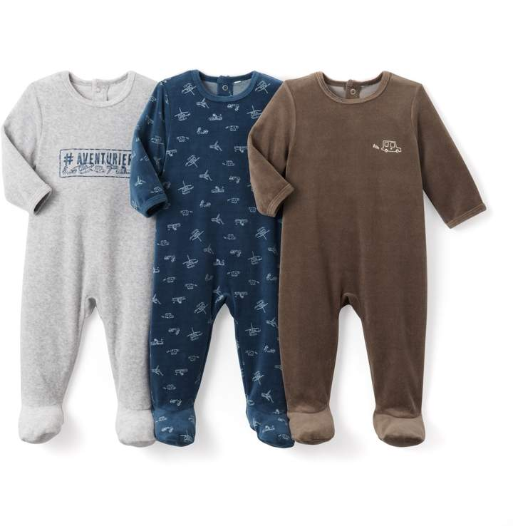 La Redoute Collections Pack of 3 Velour Sleepsuits, Birth - 3 Years