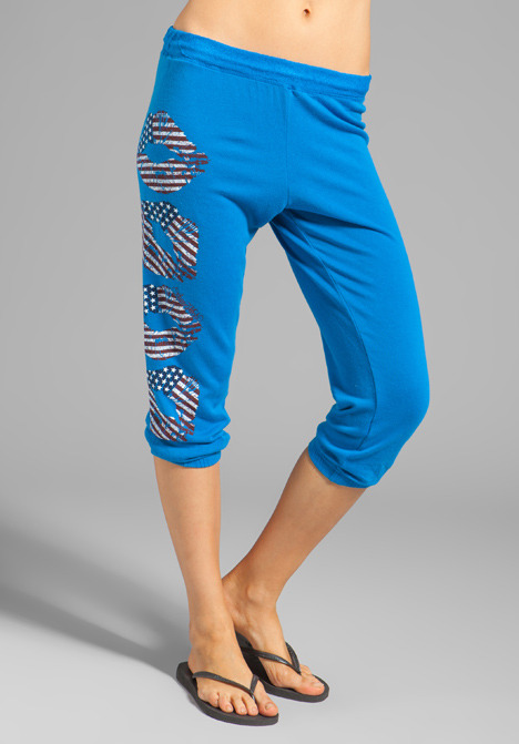 Lauren Moshi Birdy Color Flag Lips Leg Sweatpant