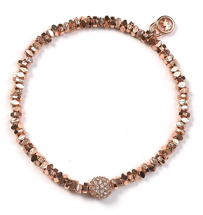 Michael Kors Rose Gold Beaded Pavé Ball Bracelet