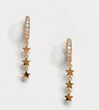 Orelia gold plated pave huggie hoop earring with star drop