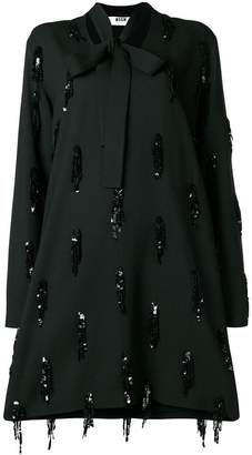 MSGM sequin embroidery long-sleeve dress