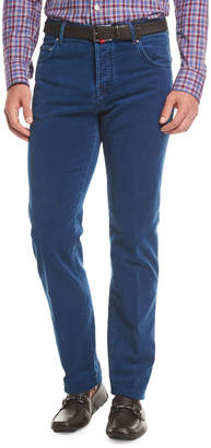 Kiton Washed Velvet Straight-Leg Pants
