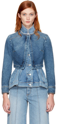 Alexander McQueen Blue Denim Peplum Jacket $1,995 thestylecure.com