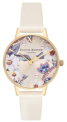 Olivia Burton Bejewelled Faux Leather Strap Watch, 30mm